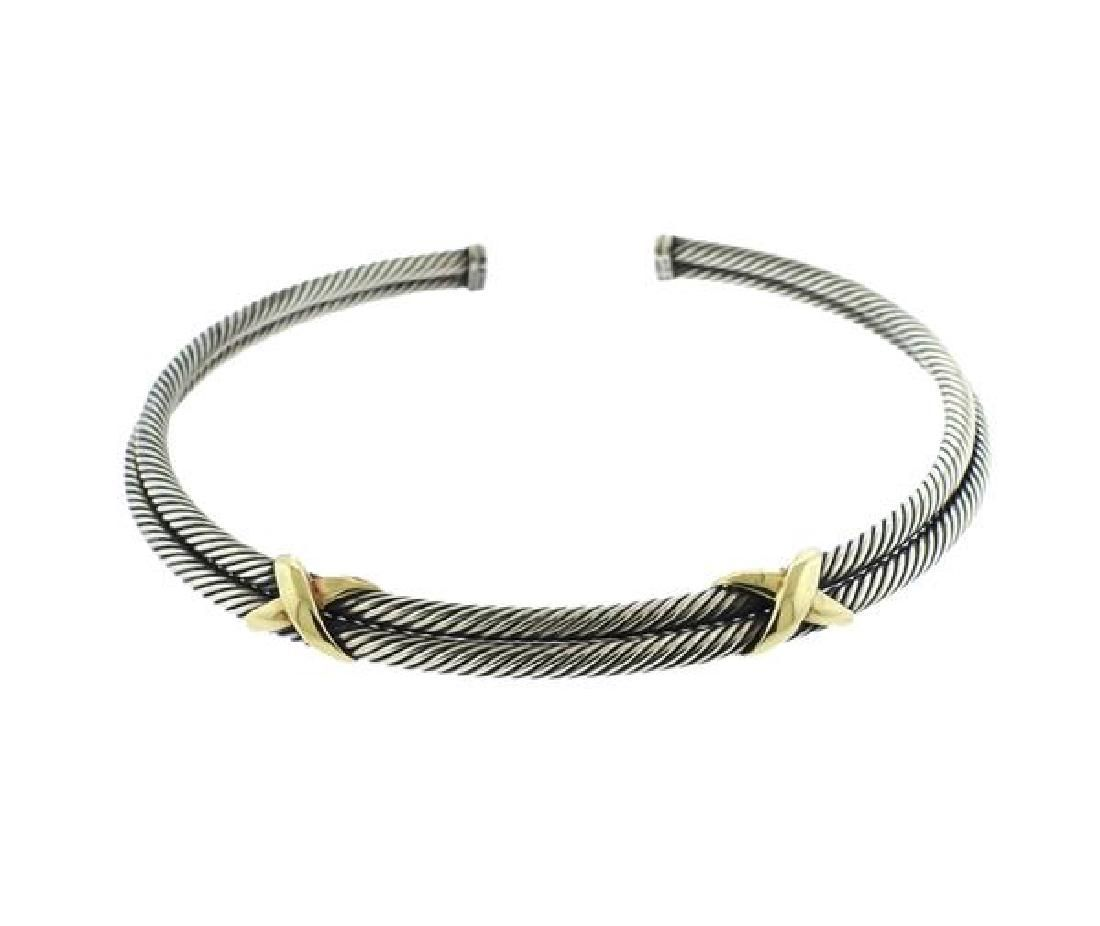 David Yurman 14K Gold Sterling X Double Cable Necklace