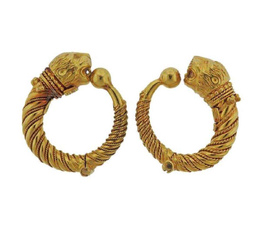 Lalaounis Greece 18k Gold Chimera Hoop Earrings