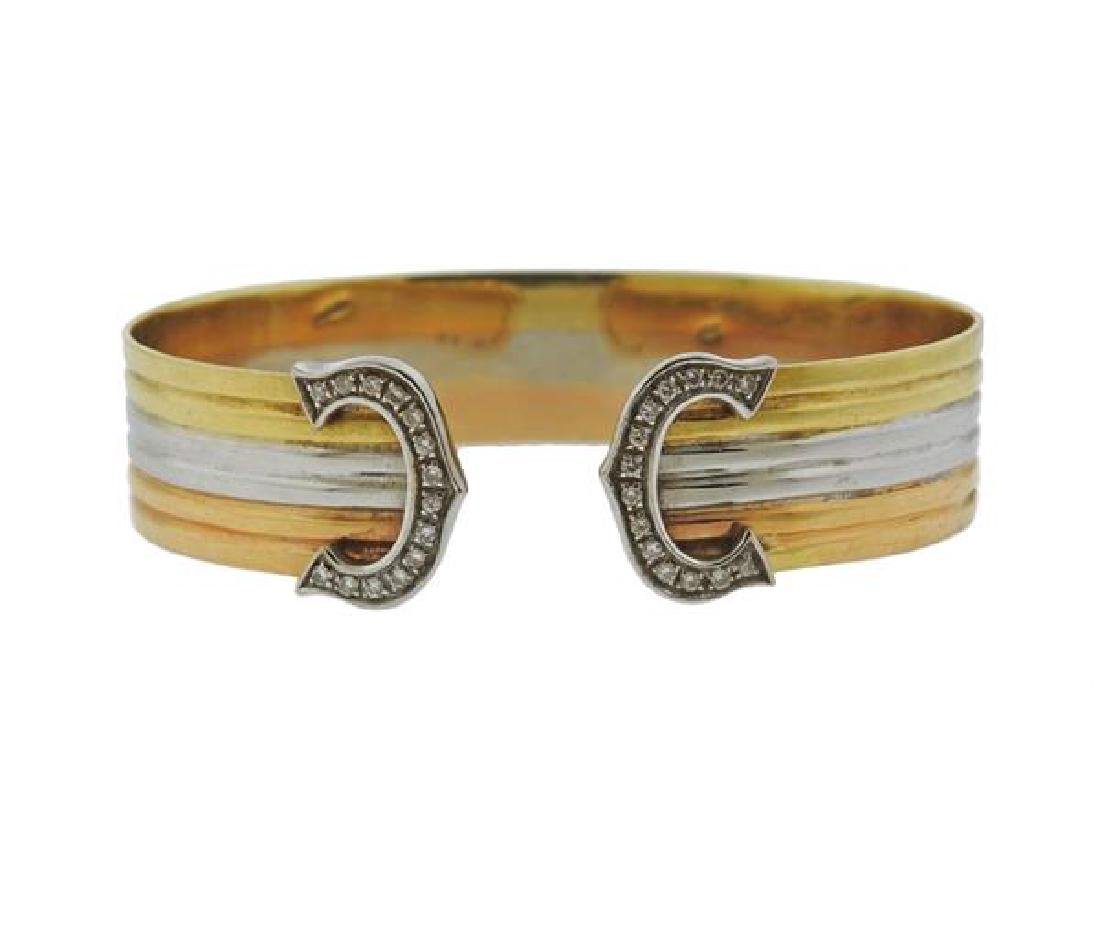 18K Tri Color Gold Diamond Cuff Bracelet