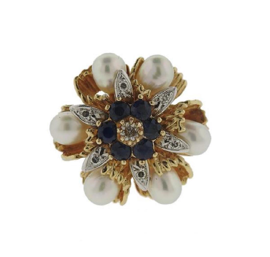 14K Gold Diamond Sapphire Pearl Ring