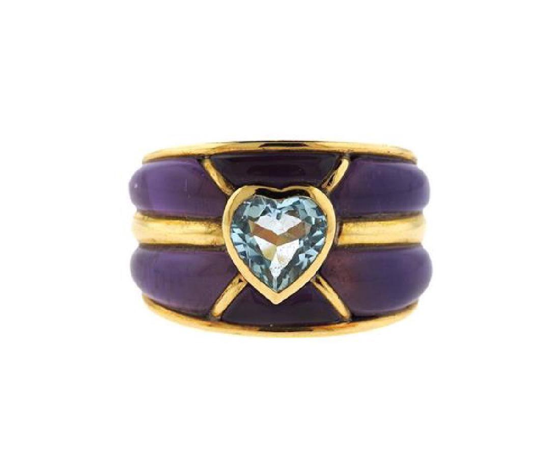 Rosa Bisbe 18K Gold Purple Blue Stone Band Ring