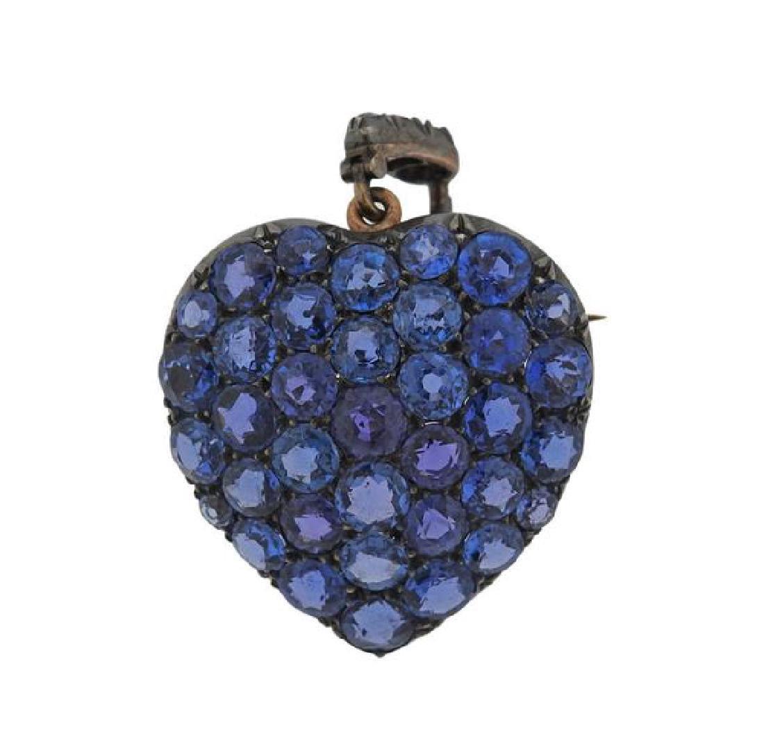 14K Gold Blue Stone Heart Brooch Pendant