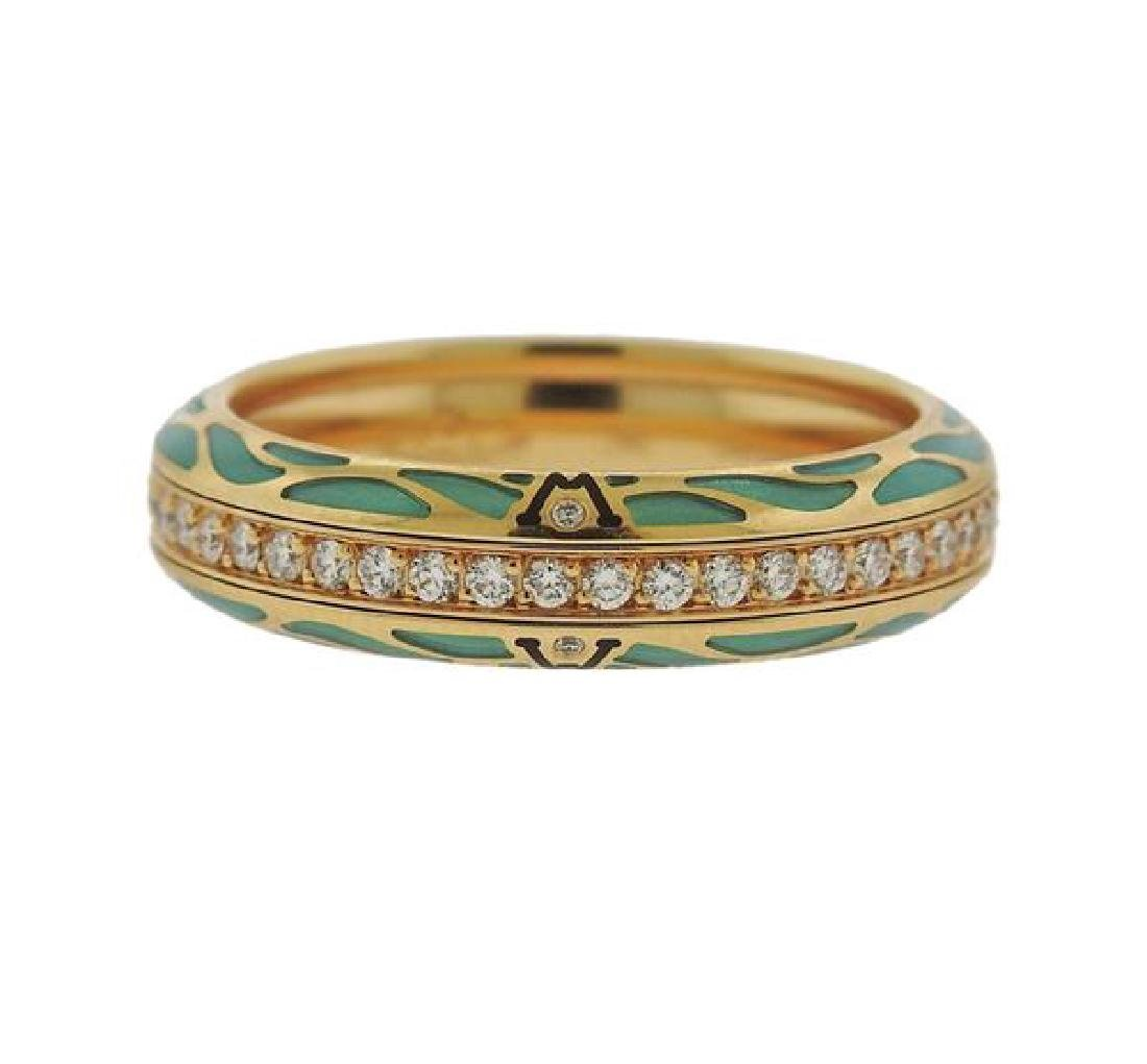 Wellendorf 18k Gold Diamond Enamel Band Ring