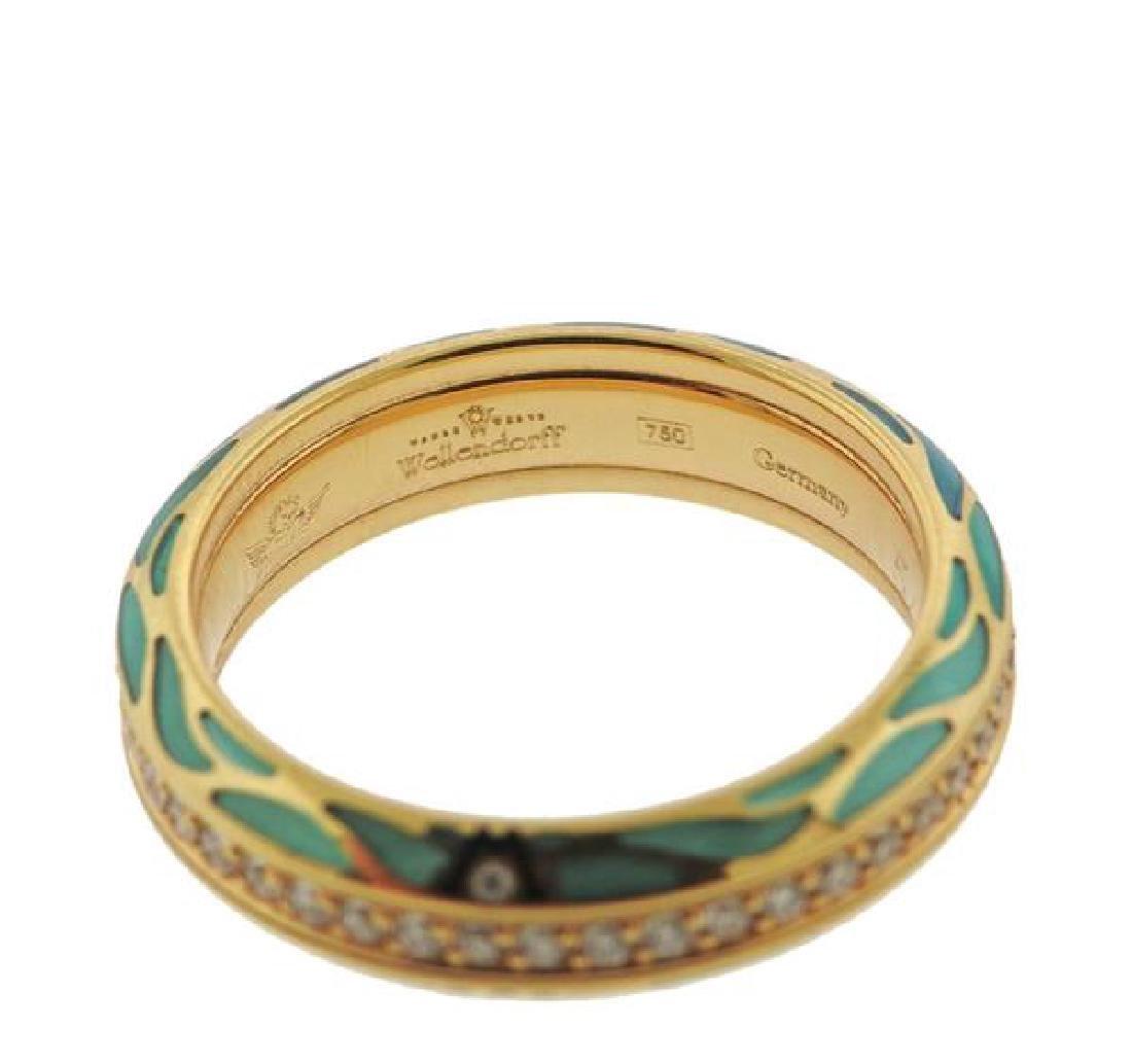 Wellendorf 18k Gold Diamond Enamel Band Ring - 3