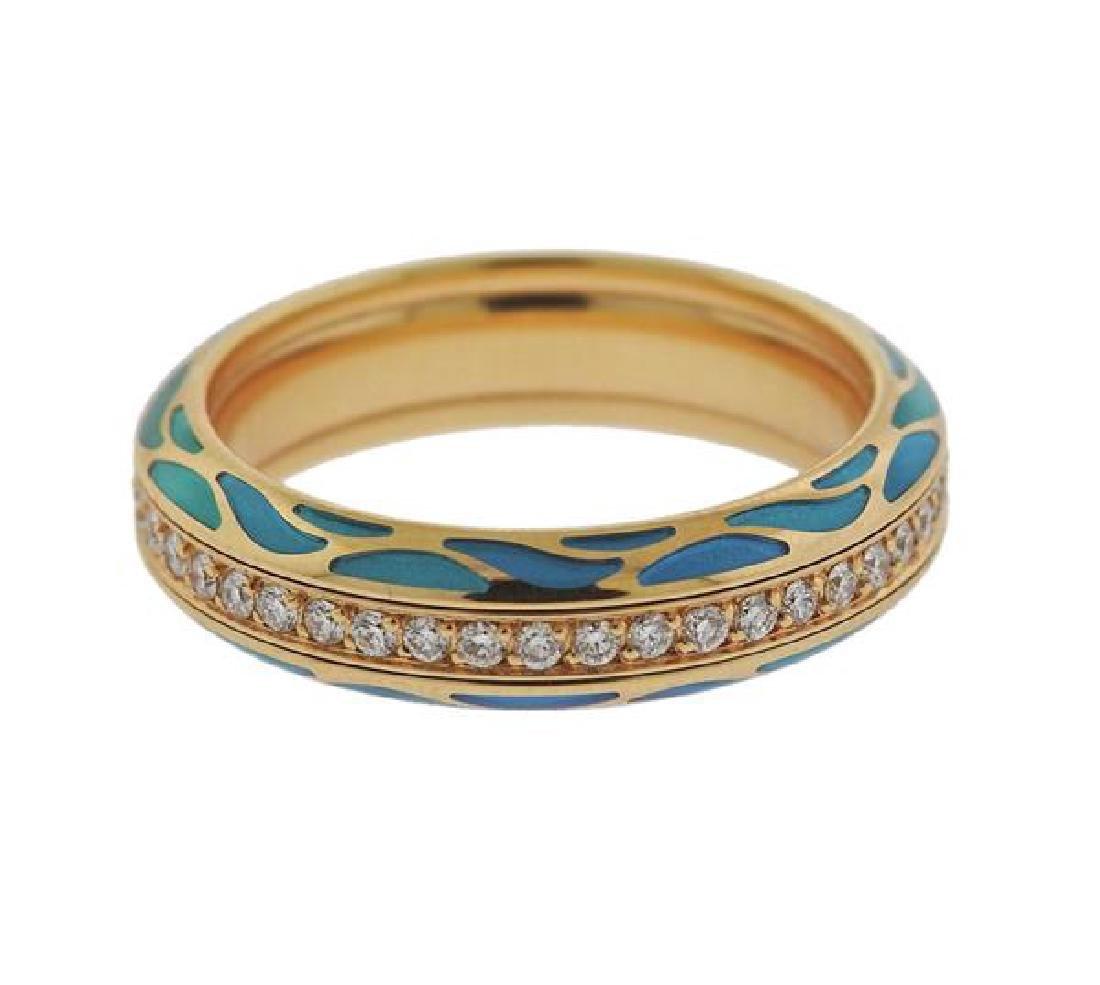 Wellendorf 18k Gold Diamond Enamel Band Ring - 4