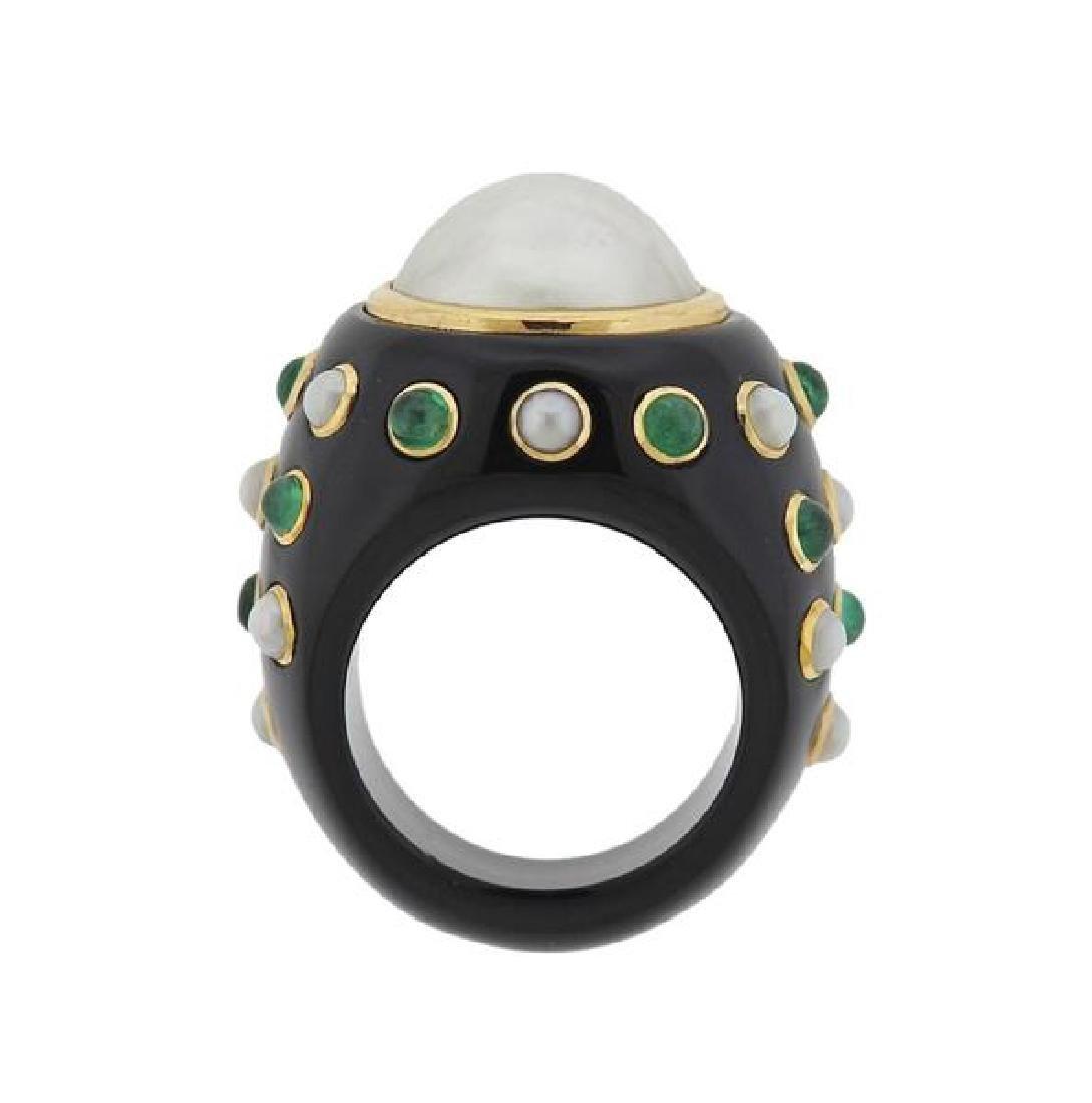 14K Gold Black Green Stone Pearl Ring
