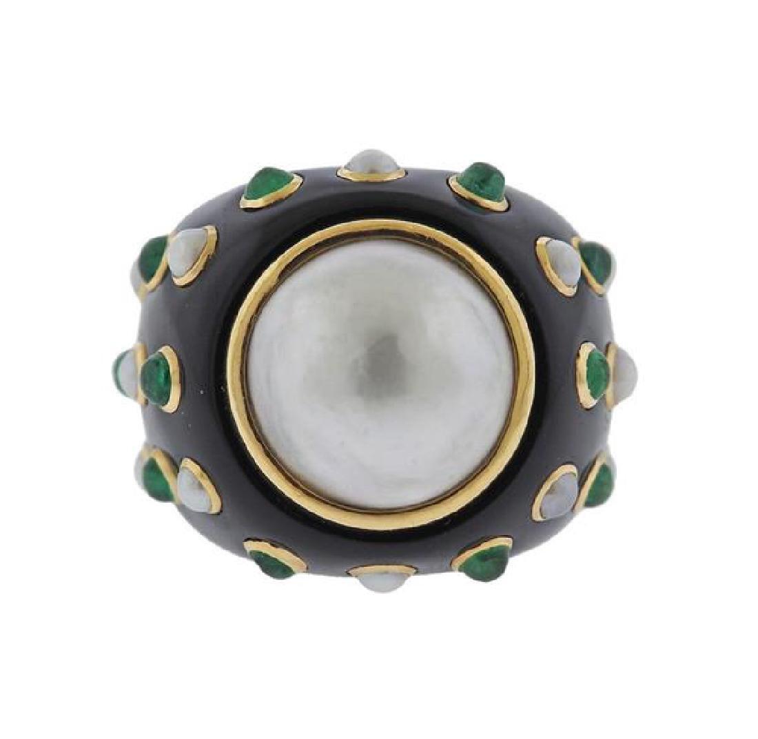 14K Gold Black Green Stone Pearl Ring - 2