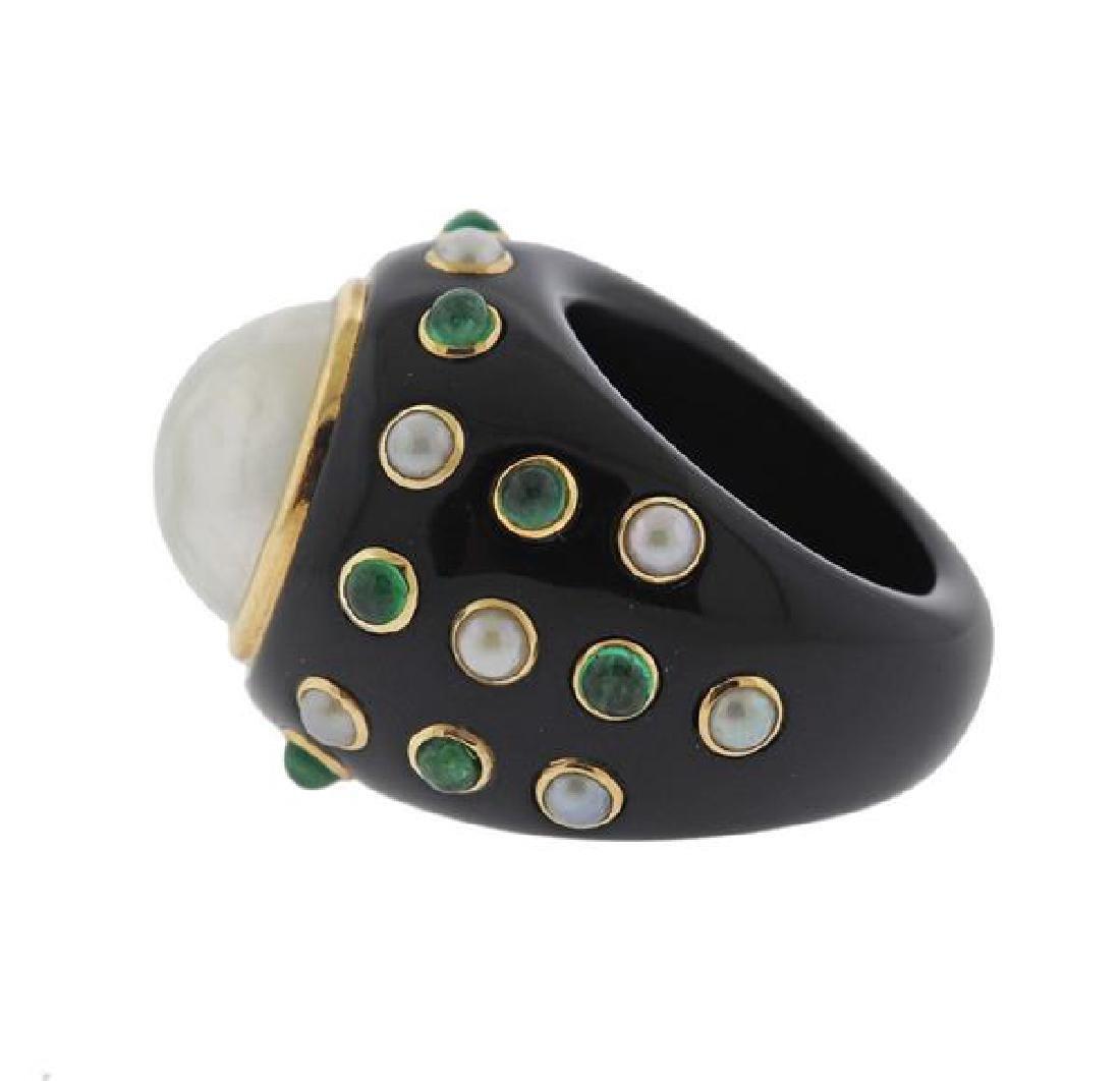 14K Gold Black Green Stone Pearl Ring - 4
