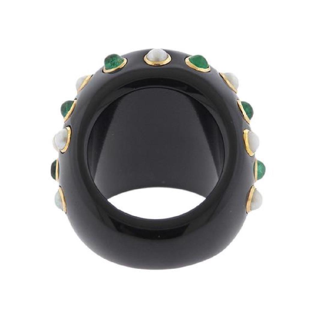 14K Gold Black Green Stone Pearl Ring - 5
