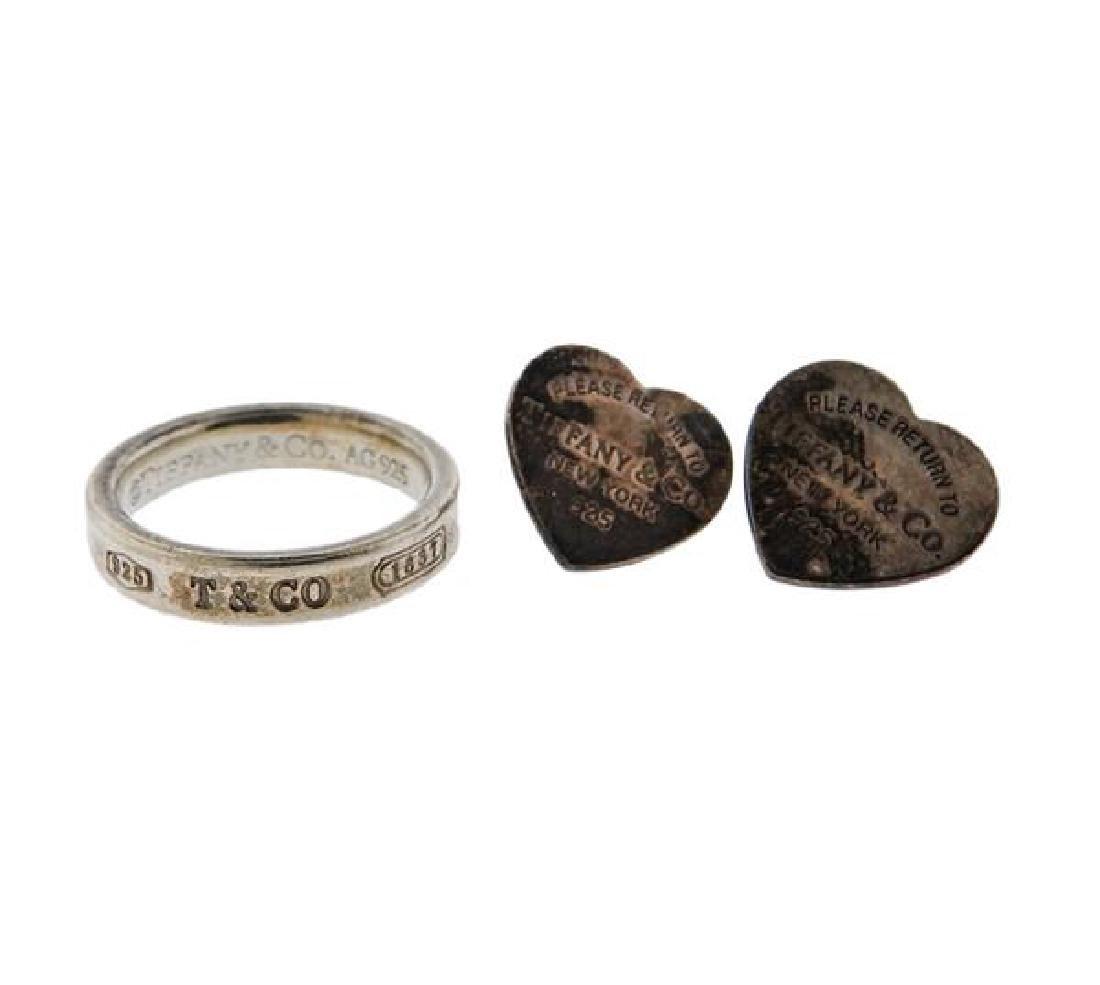 Tiffany & Co Sterling 1837 Ring Heart Earrings Lot