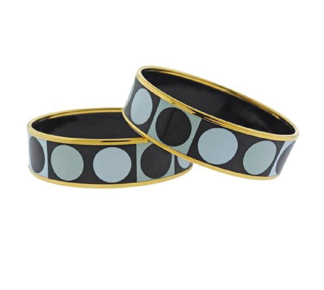 Hermes Enamel Bangle Bracelet Set