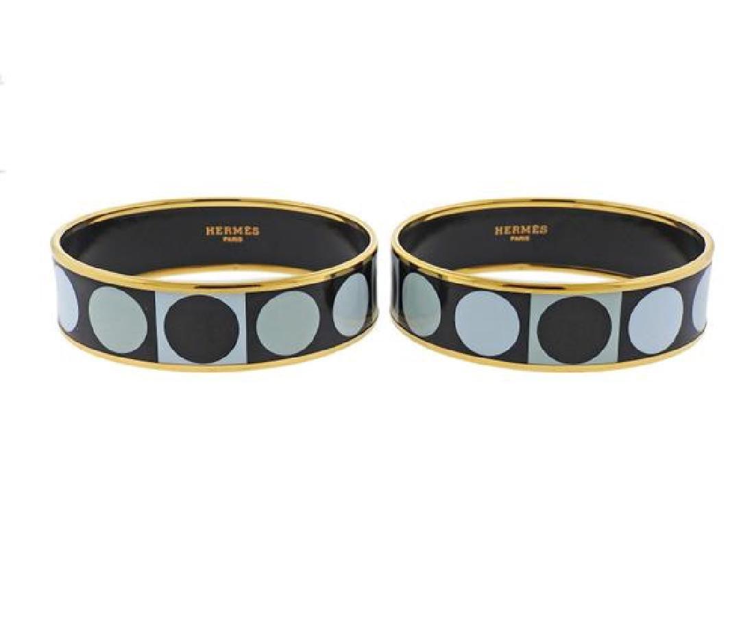 Hermes Enamel Bangle Bracelet Set - 2