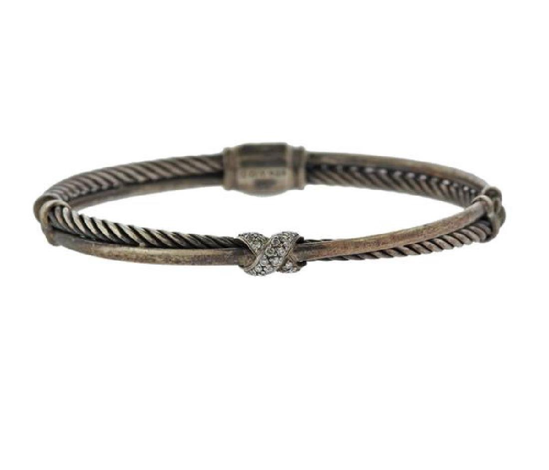 David Yurman Sterling Diamond X Crossover Bracelet