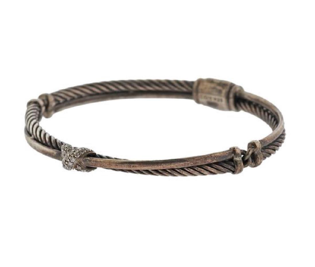 David Yurman Sterling Diamond X Crossover Bracelet - 2