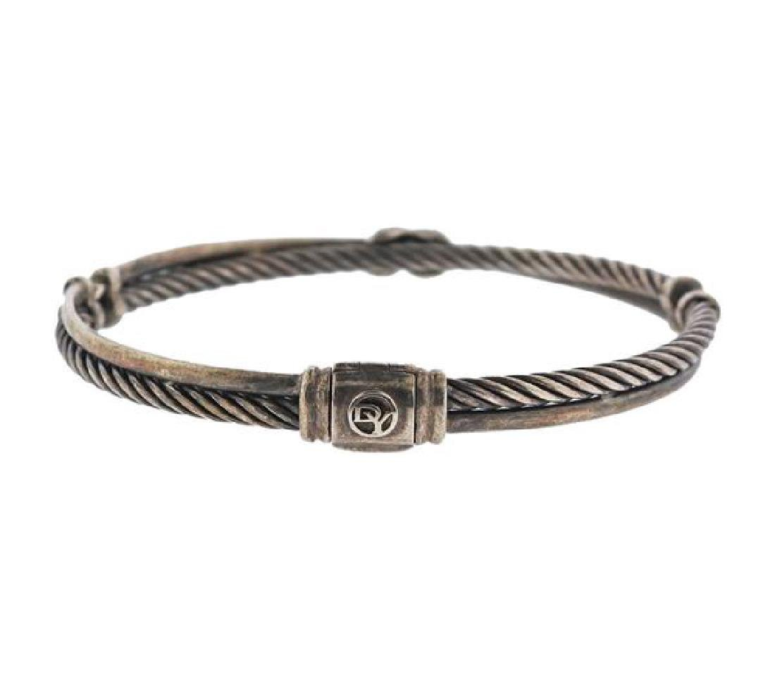 David Yurman Sterling Diamond X Crossover Bracelet - 4