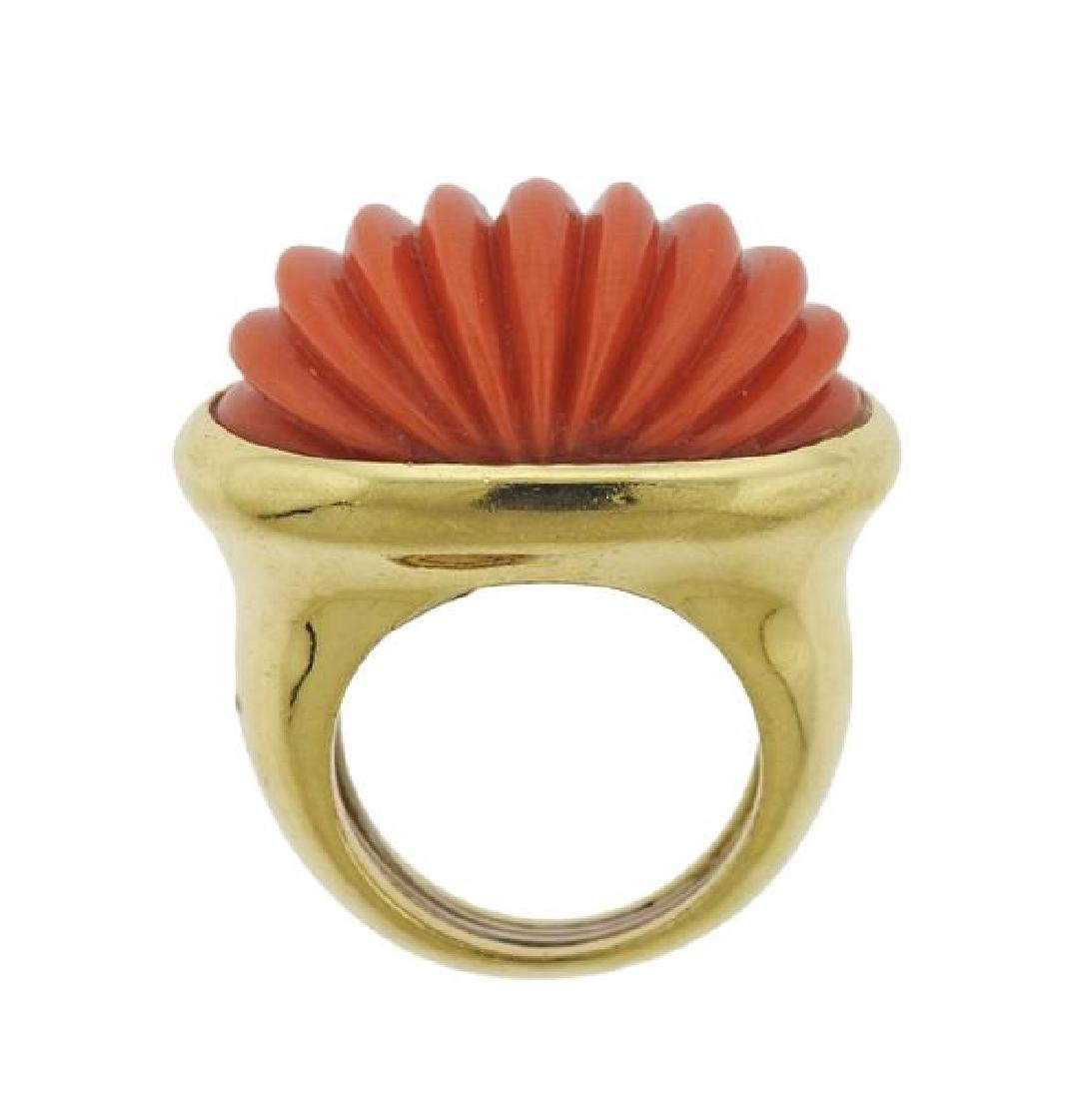 Tambetti 18k Gold Carved Coral Ring