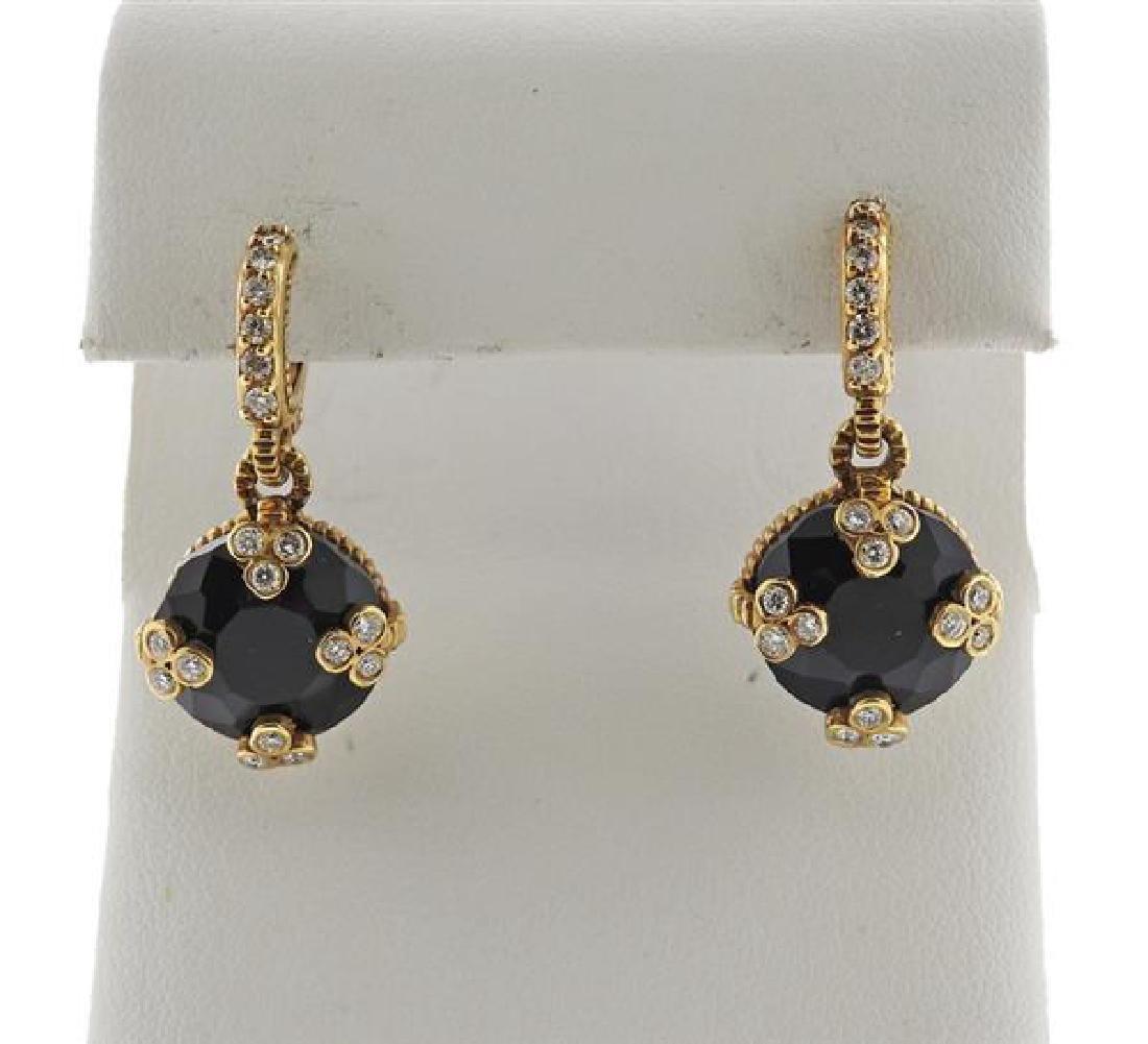 18K Gold Diamond Onyx Earrings