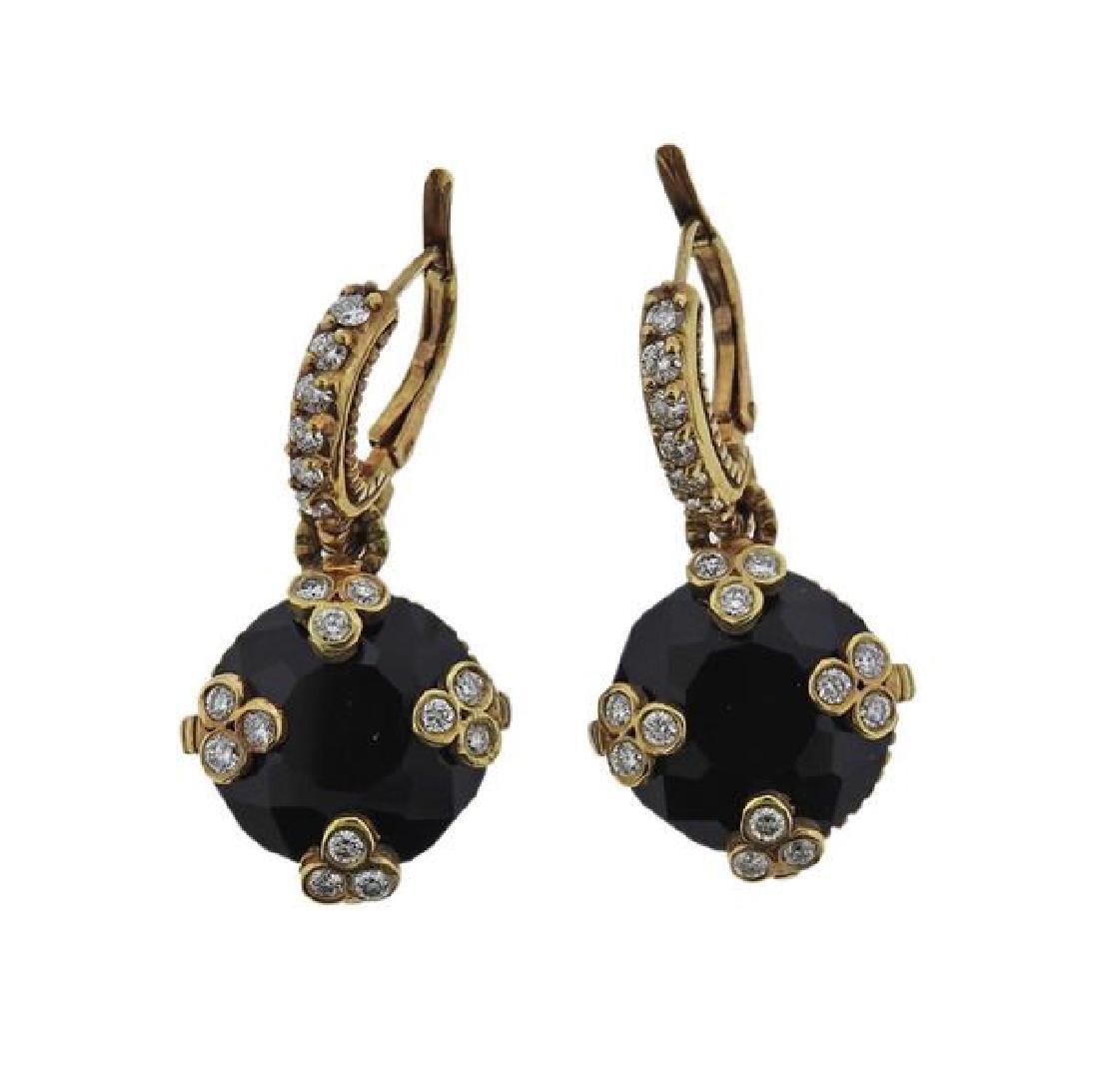18K Gold Diamond Onyx Earrings - 2