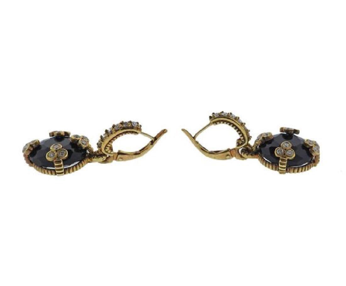 18K Gold Diamond Onyx Earrings - 3