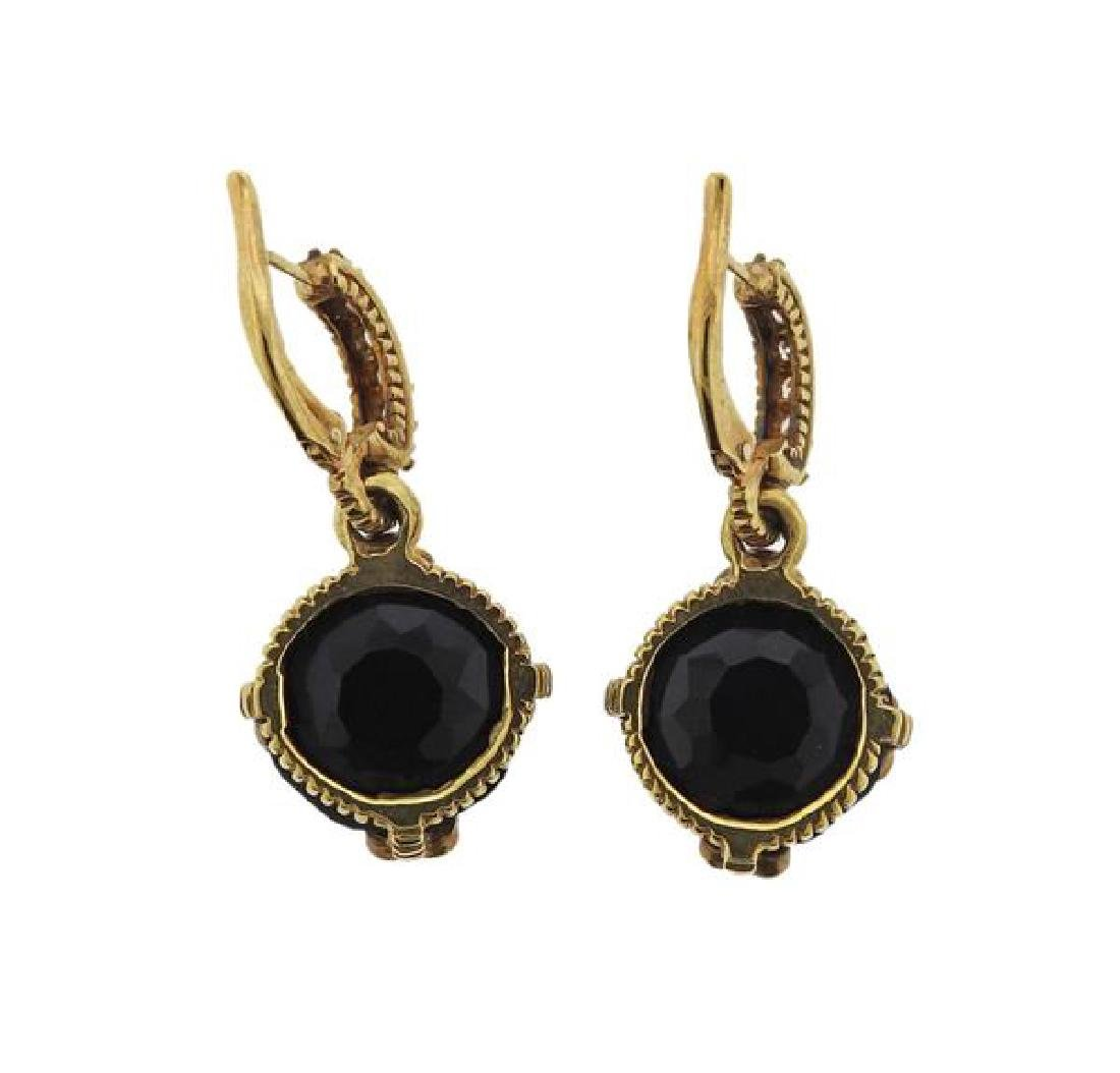 18K Gold Diamond Onyx Earrings - 4