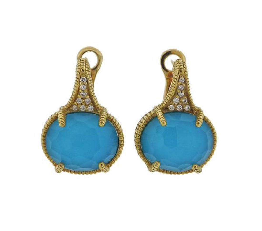 Judith Ripka 18K Gold Diamond Blue Stone Earrings