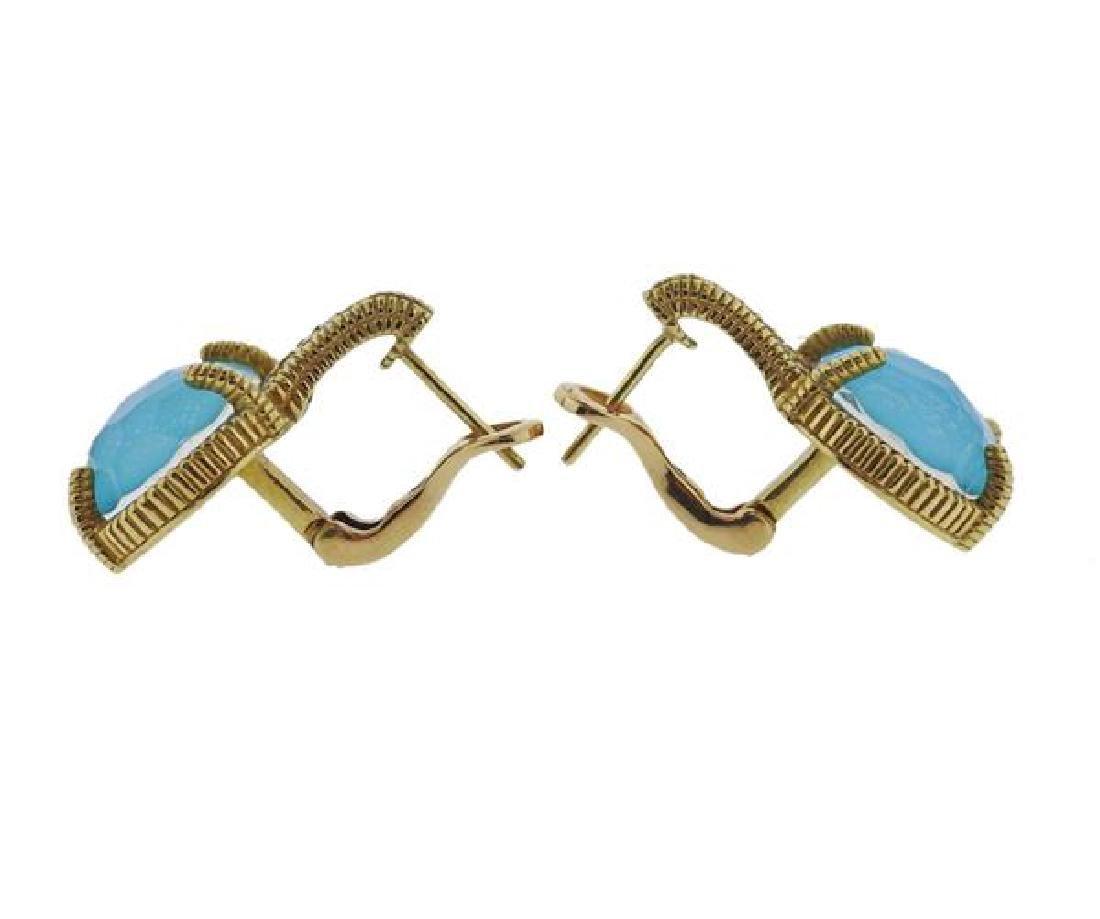 Judith Ripka 18K Gold Diamond Blue Stone Earrings - 2
