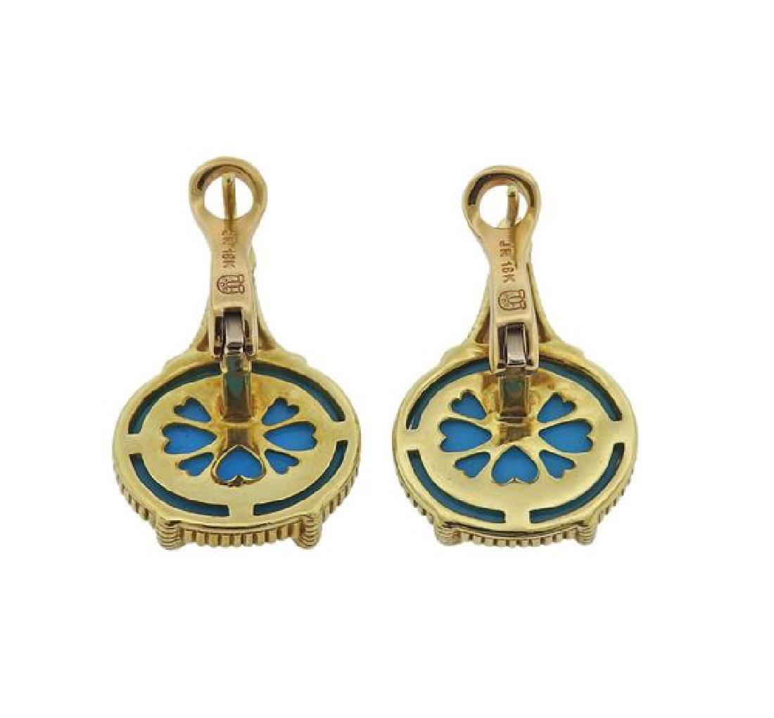 Judith Ripka 18K Gold Diamond Blue Stone Earrings - 3