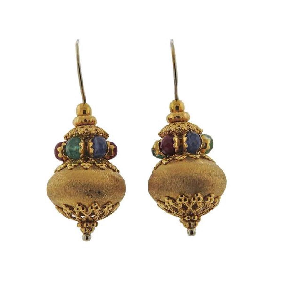 18K Gold Multi Color Stone Earrings