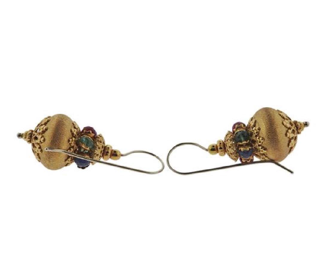 18K Gold Multi Color Stone Earrings - 3