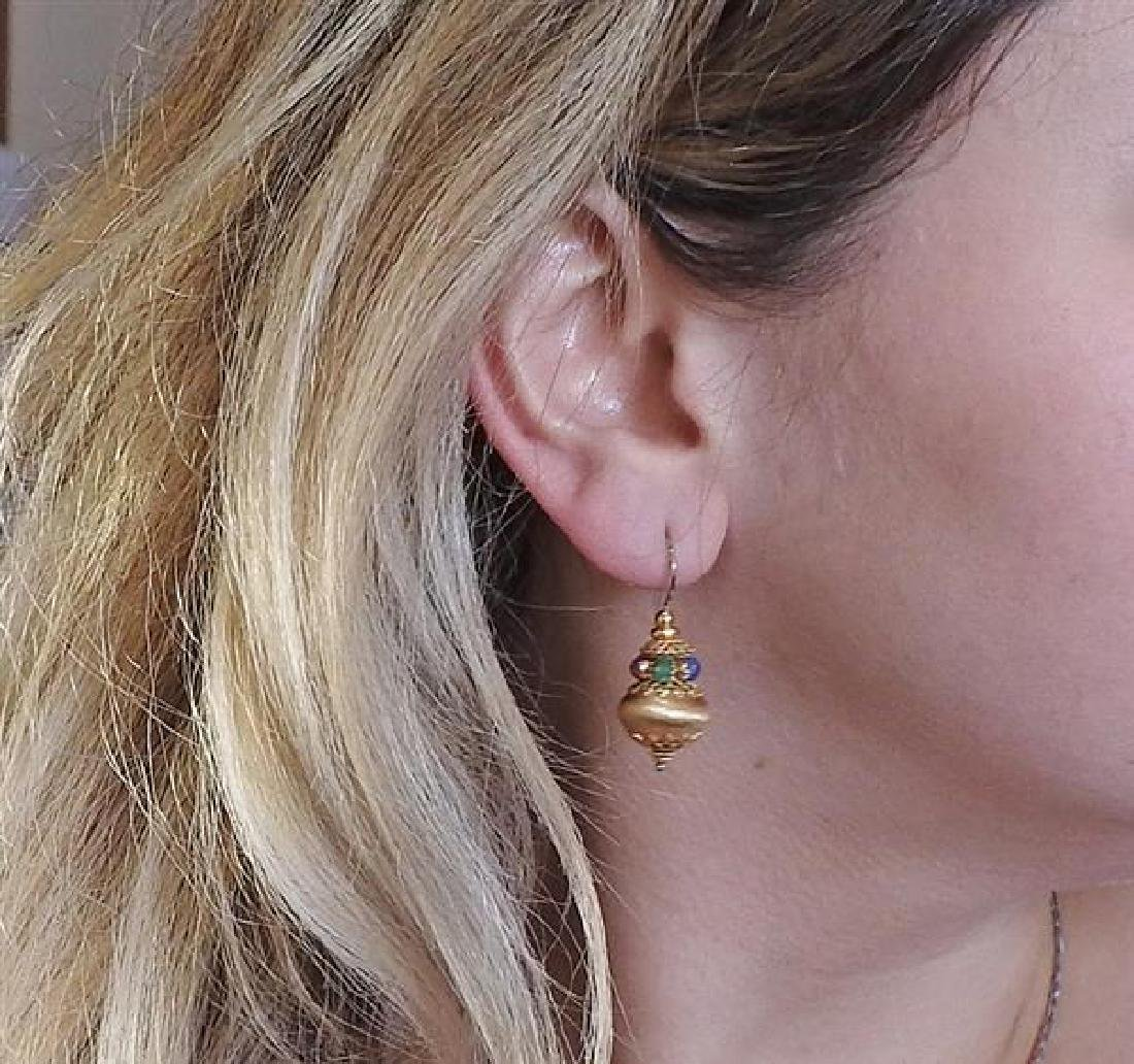 18K Gold Multi Color Stone Earrings - 5