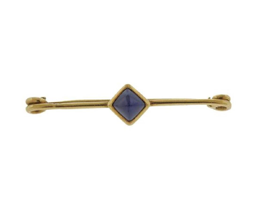 Janesich 18K Gold Sapphire Brooch Pin