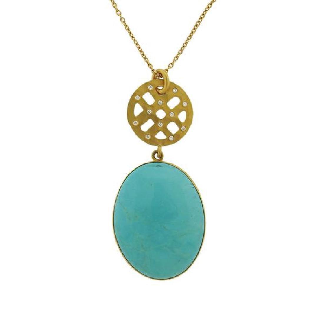 22K Gold Diamond Turquoise Pendant  Necklace