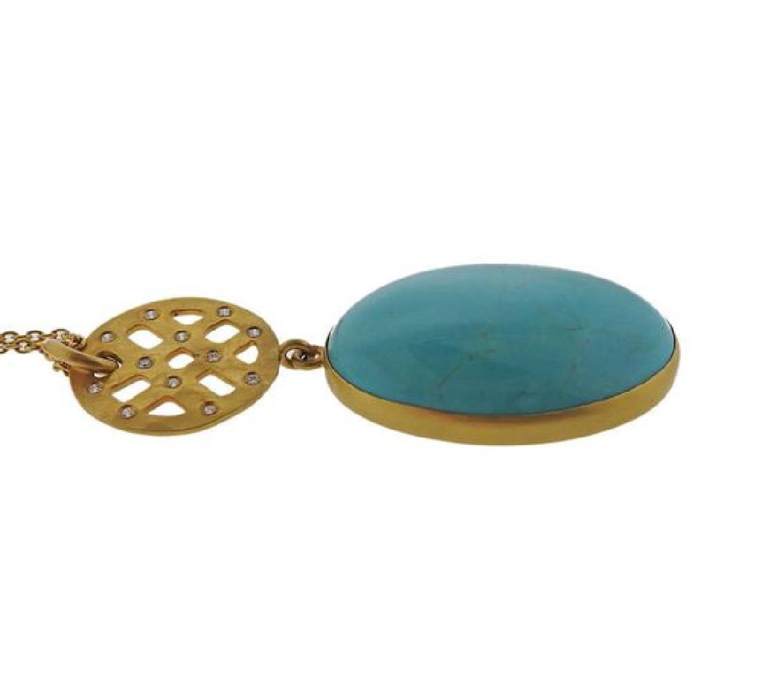22K Gold Diamond Turquoise Pendant  Necklace - 2