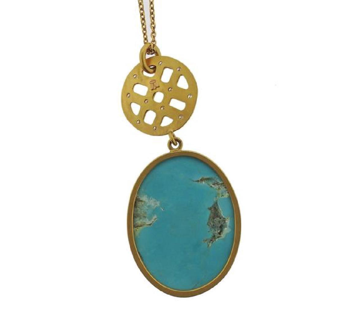 22K Gold Diamond Turquoise Pendant  Necklace - 3
