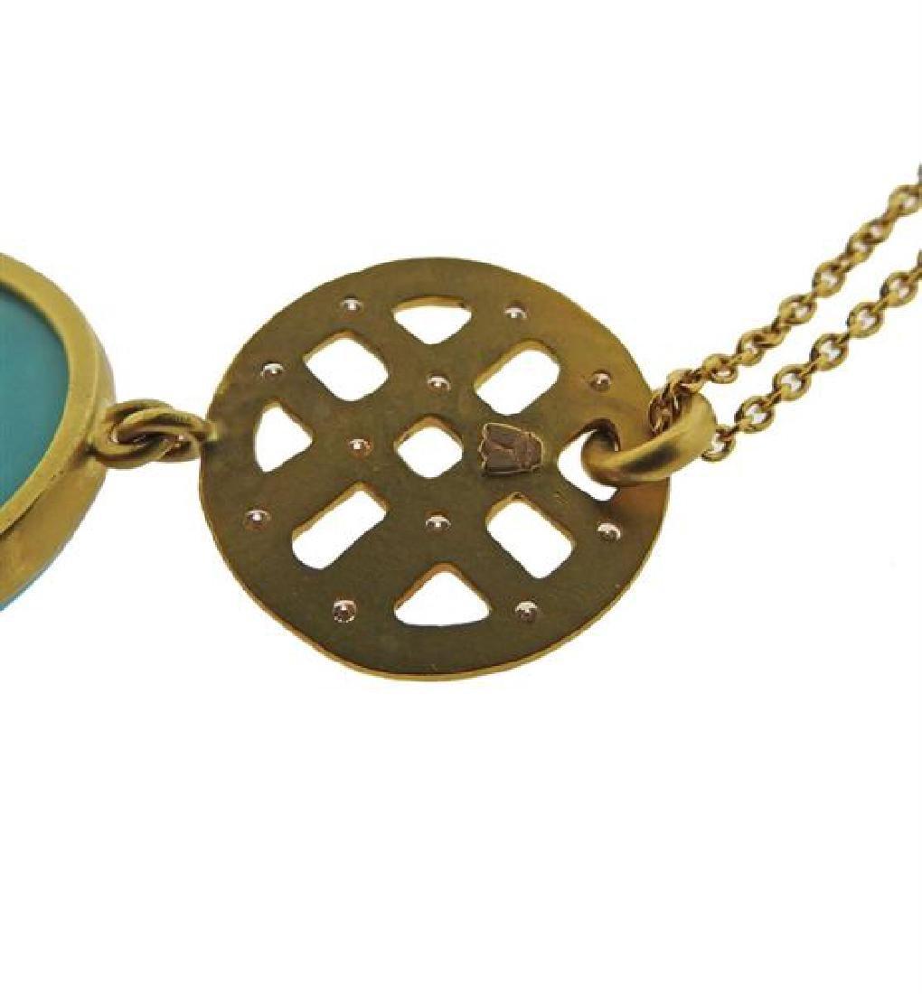 22K Gold Diamond Turquoise Pendant  Necklace - 5