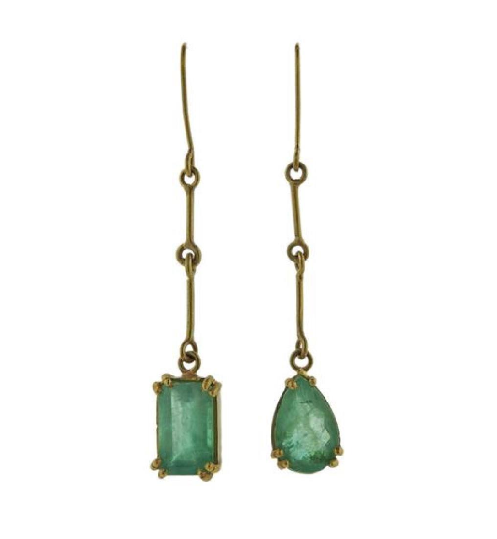 Renee Lewis 18K Gold Emerald Dangle Earrings