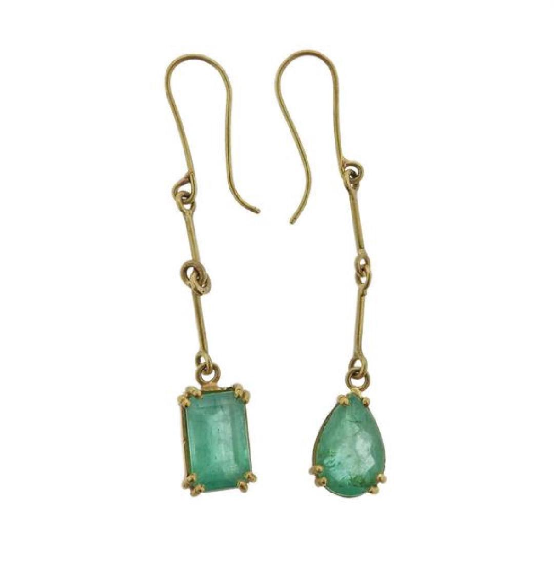 Renee Lewis 18K Gold Emerald Dangle Earrings - 2