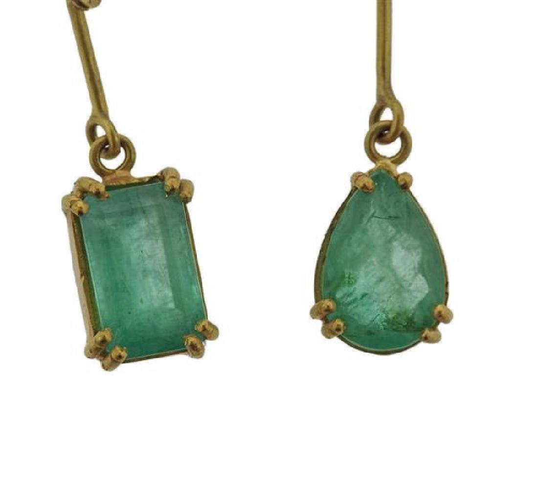 Renee Lewis 18K Gold Emerald Dangle Earrings - 3