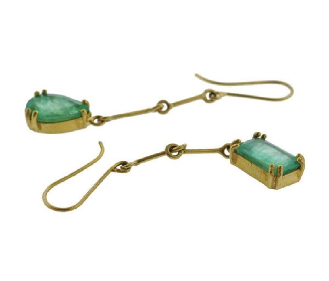 Renee Lewis 18K Gold Emerald Dangle Earrings - 4