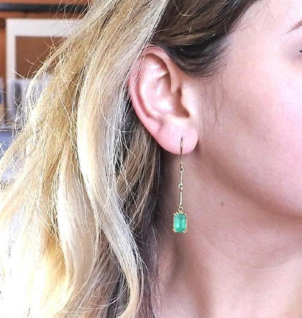 Renee Lewis 18K Gold Emerald Dangle Earrings - 5