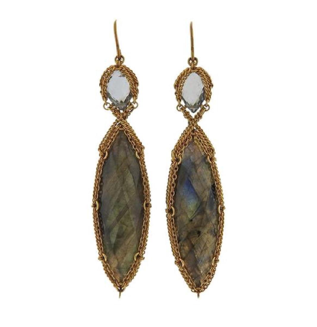 Anthony Nak 18k Gold Labradorite Green Stone Earrings