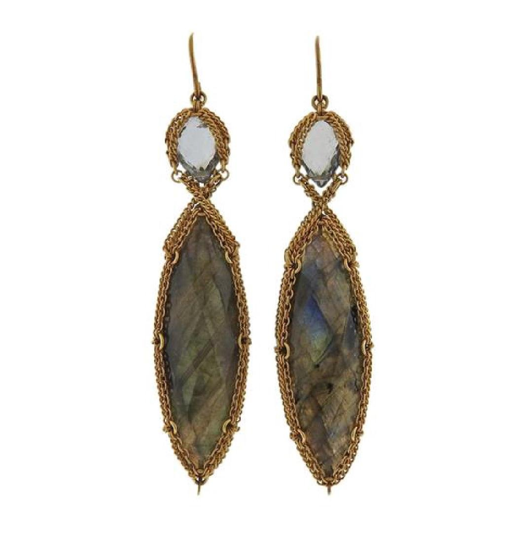 Anthony Nak 18k Gold Labradorite Green Stone Earrings