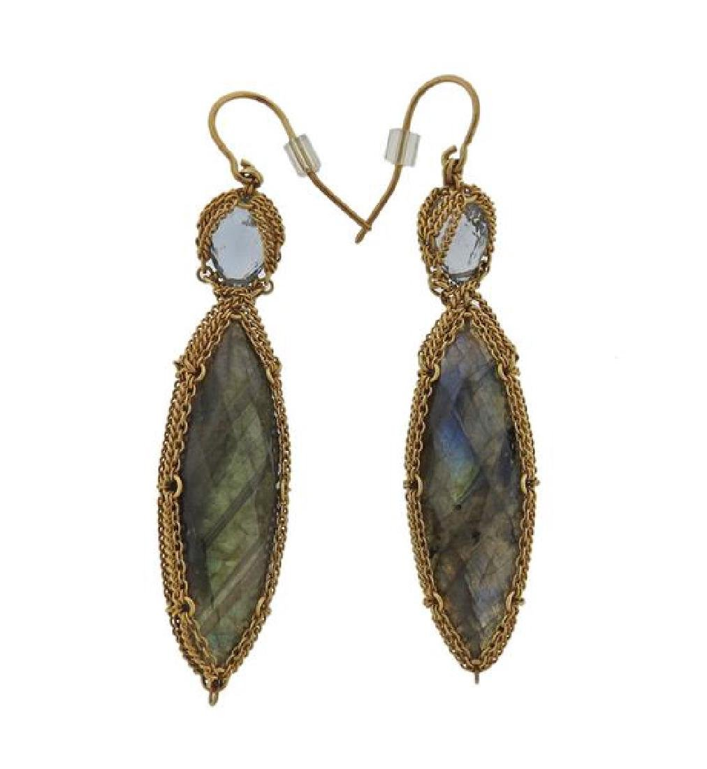 Anthony Nak 18k Gold Labradorite Green Stone Earrings - 2