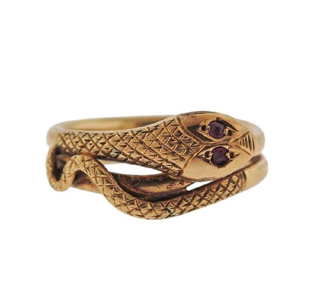 Antique 14k Gold Red Stone Snake Ring