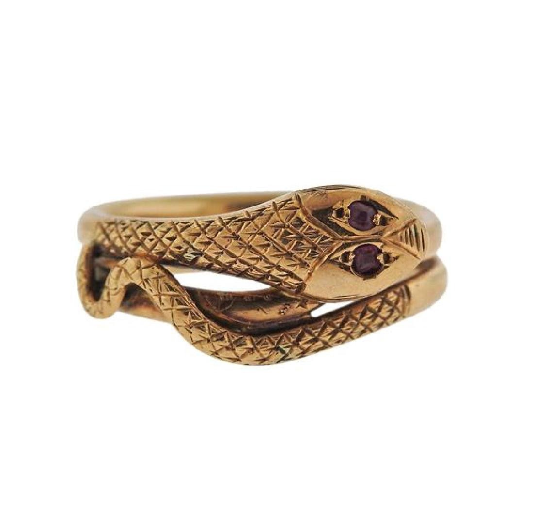 Antique 14k Gold Red Stone Snake Ring