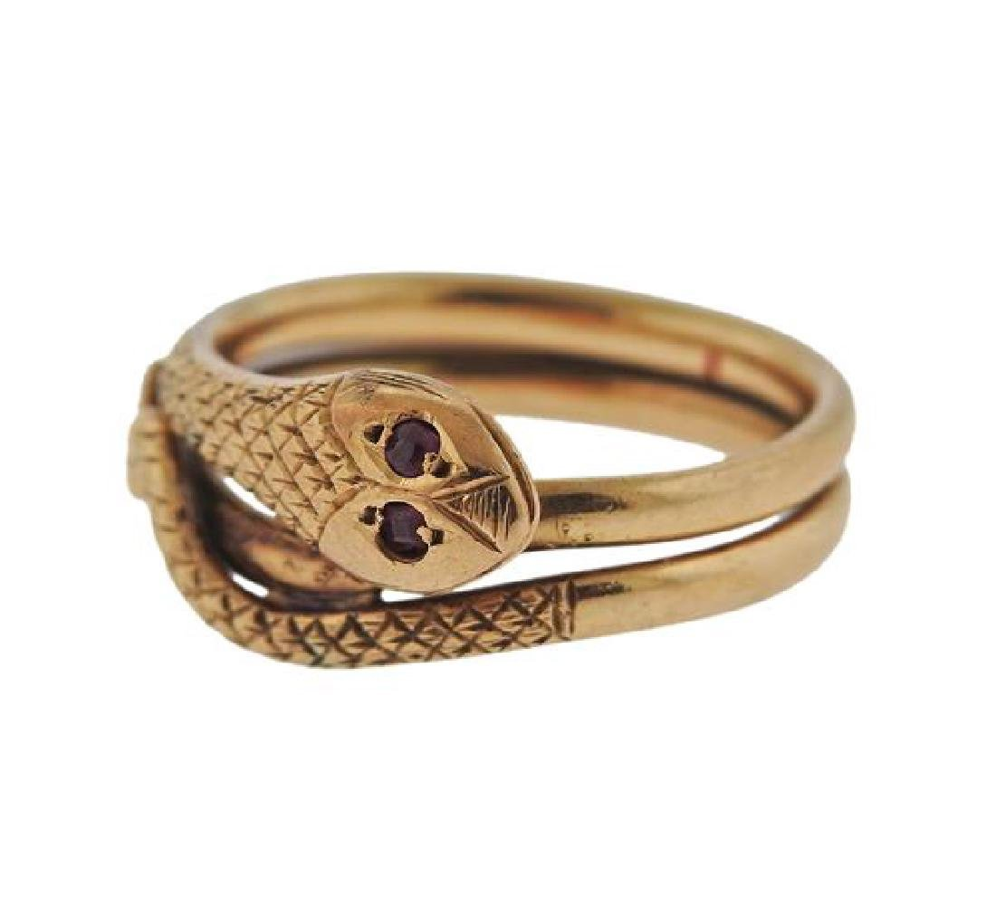 Antique 14k Gold Red Stone Snake Ring - 2