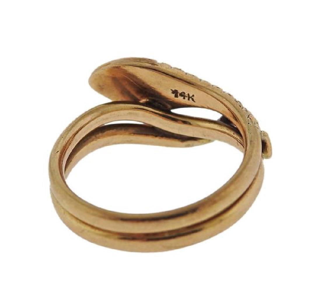 Antique 14k Gold Red Stone Snake Ring - 3