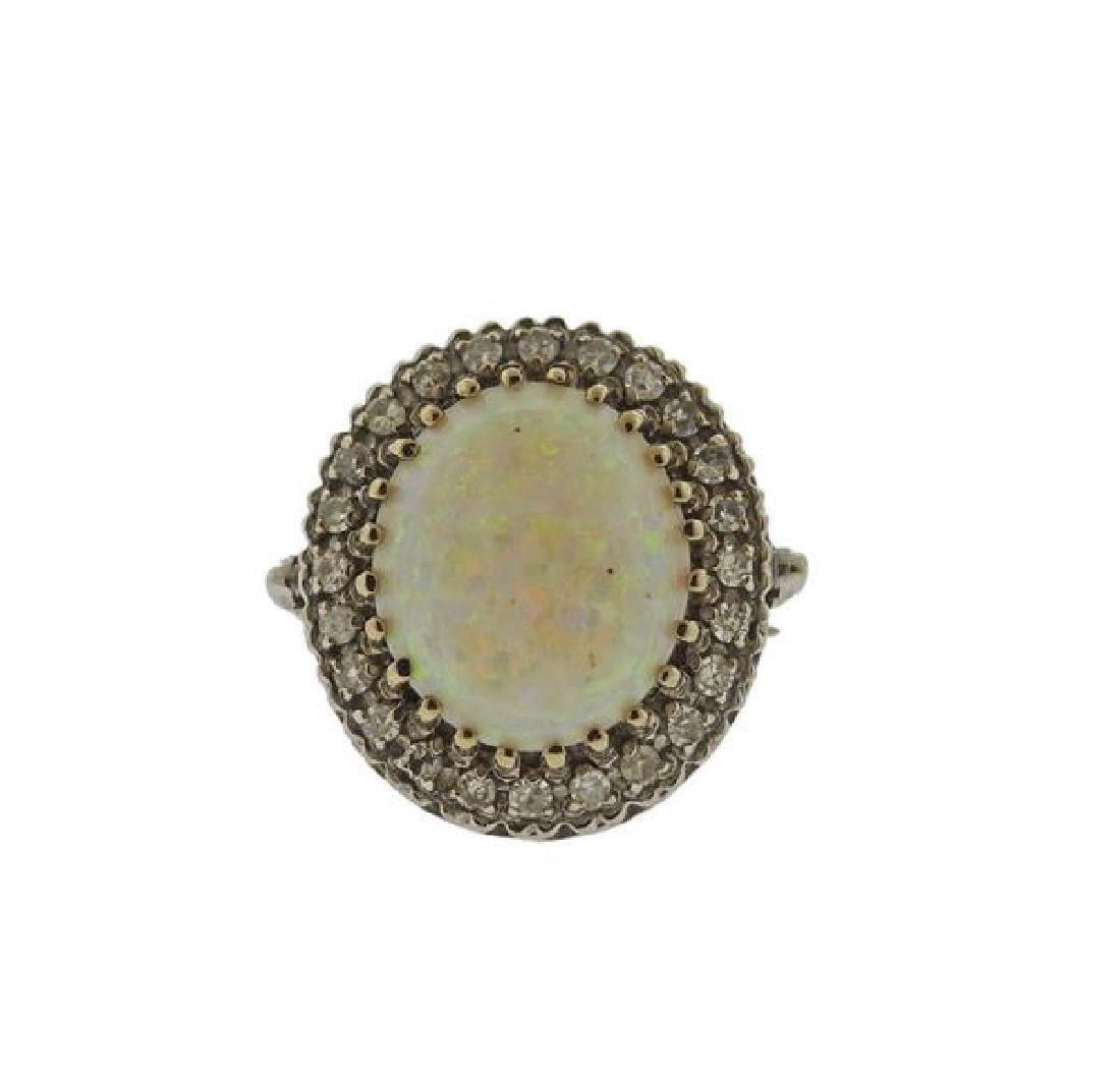 14K Gold Diamond Opal Ring
