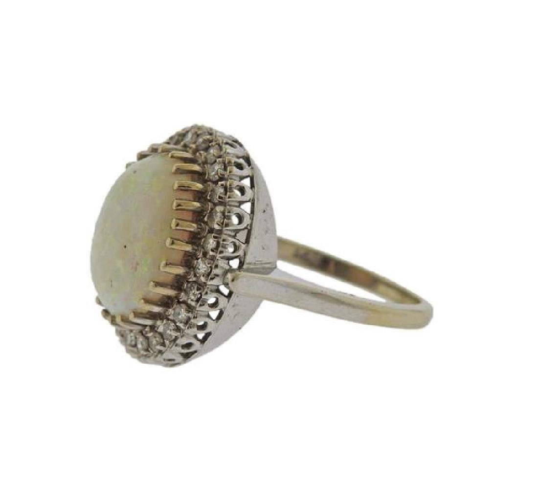 14K Gold Diamond Opal Ring - 2