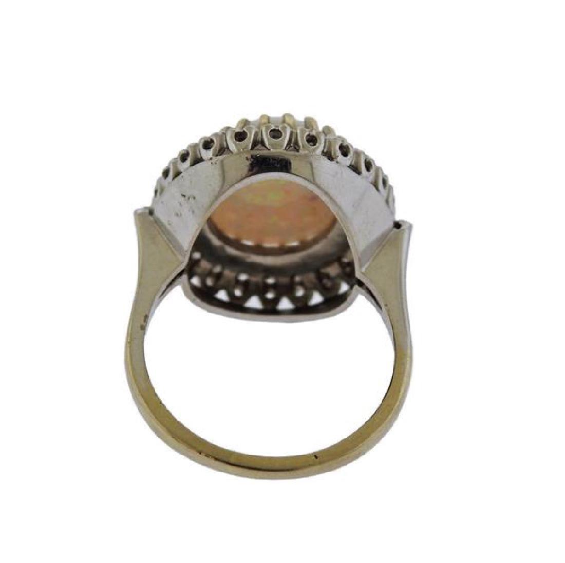 14K Gold Diamond Opal Ring - 3
